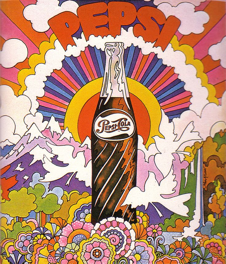 Pepsi ad, 1969  Graphic artist John Alcorn takes us away to a dreamlike world filled with sunshine, moutains, rainbows, and, of course, Pepsi.
