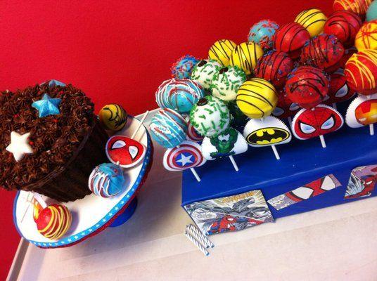 Superhero cake pops