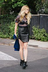 Jess Dempsey - Market Hq Top, Mossman Skirt, Mossman Jumper, Hermës Cuff, Boss Orange Boots - Sheer v Leather - Lisa Frieling