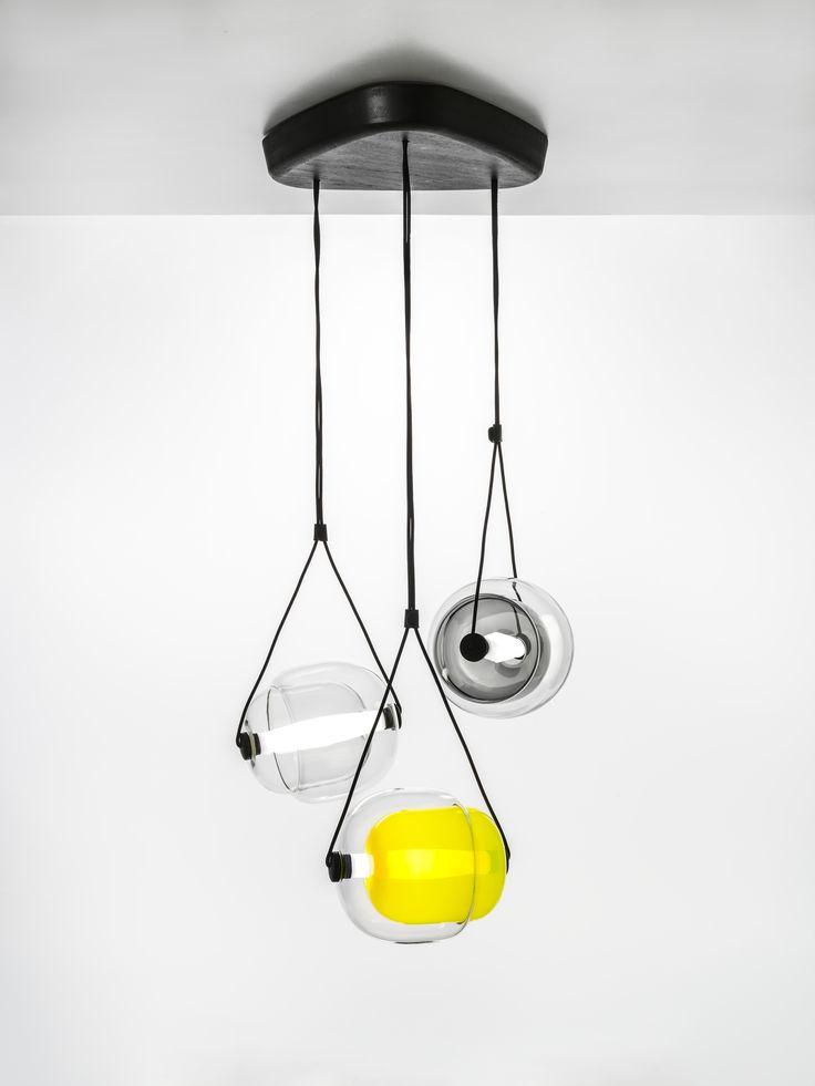White Interior - Brokis lights - Smoke grey, dark smoke grey and yellow, Capsula. Design by Lucie Koldova.