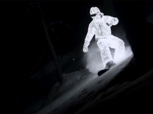 This ghostly LED snowboarder lights up the nighttime slopes in a haunting video.