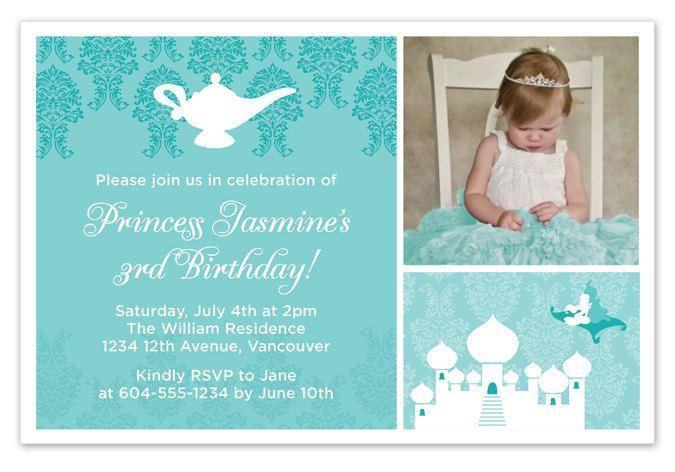 Disney Aladdin Princess Jasmine Birthday Invitation with Photo. $15.00, via Etsy.