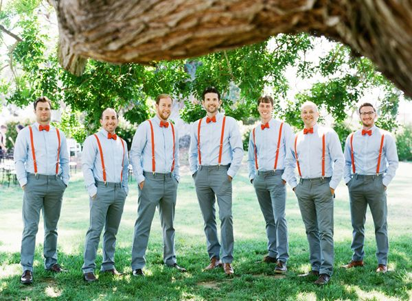 matching red bow ties + suspenders! // photo by Troy Grover Photographers, view more: http://ruffledblog.com/backyard-california-wedding/