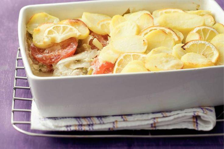 Kijk wat een lekker recept ik heb gevonden op Allerhande! Ovenschotel van koolvis en aardappelschijfjes