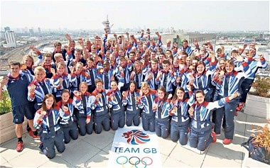 Team GB celebrating their Olympic success