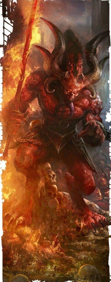 Dit is een demoon. Verschillende soorten demonen komen voor in het boek. Warhammer 40k