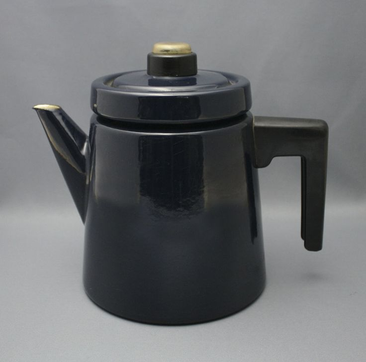 Pehtoori coffee pot by Antti Nurmesniemi for Arabia in 1957. Manufactured in red, blue, yellow, black and white. The pot was from iron and enamel, handy to use on the stove and on the table. Mrs. Nurmesniemi has used it to cook potatoes, easy to pour the water out and leave the potatoes in.
