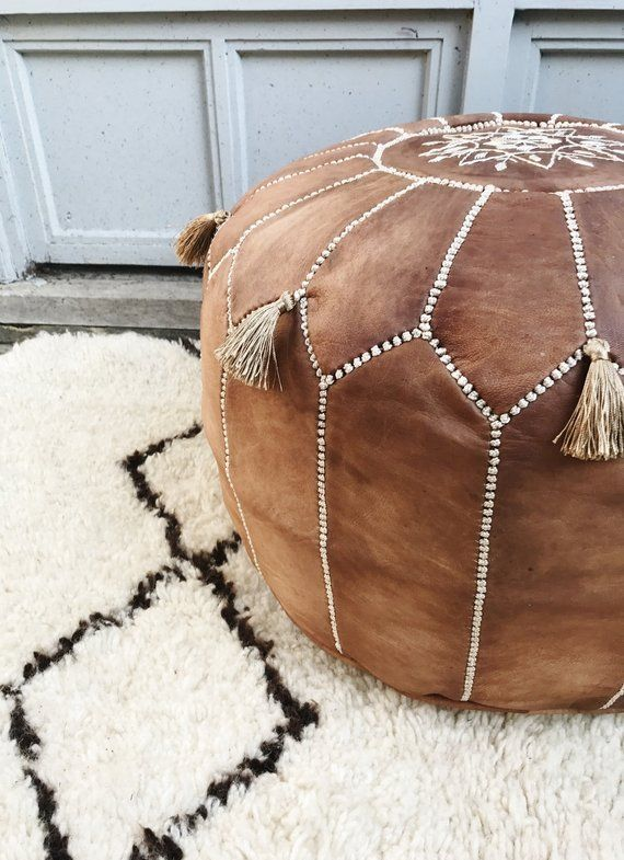 Swell Tan Pouf Sale Tan Brown Moroccan Leather Pouf Tassels Ncnpc Chair Design For Home Ncnpcorg