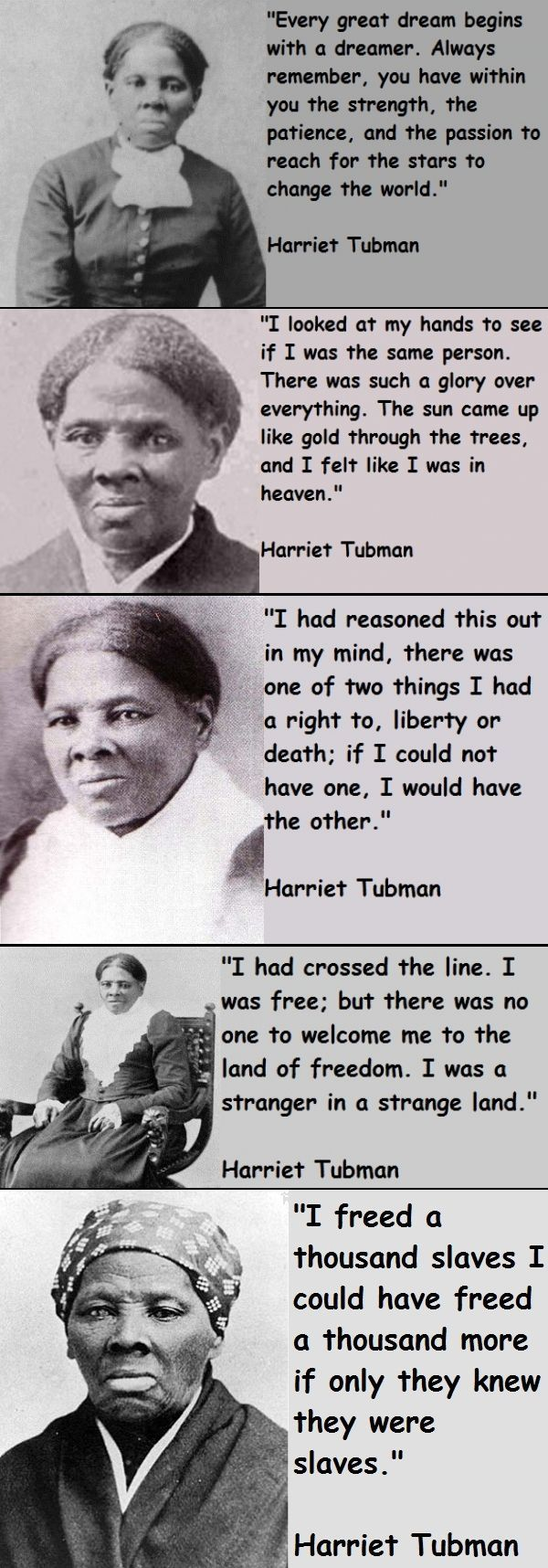 """Harriet Tubman became famous as a """"conductor"""" on the Underground Railroad during the turbulent 1850s. Born a slave on Maryland's eastern shore, she endured the harsh existence of a field hand, including brutal beatings. In 1849 she fled slavery, despite a bounty on her head, she returned to the South at least 19 times to lead her family & hundreds of other slaves to freedom via the Underground Railroad. Tubman also served as a scout, spy and nurse during the Civil War. #tubman"""