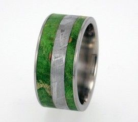 Mens Wedding Band  Meteorite and Green Box Elder by jewelrybyjohan, $679.00
