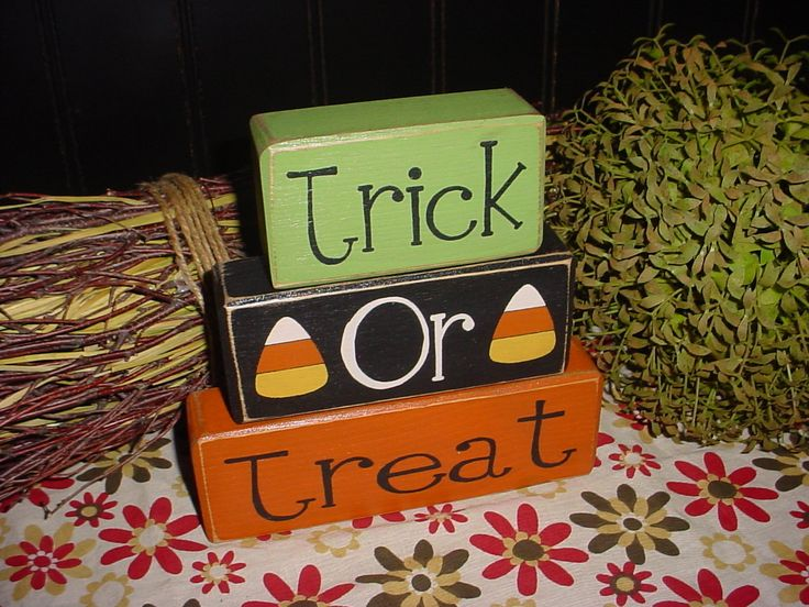NEW Trick Or Treat CANDY CORN Halloween Decor Wood Sign Blocks Primitive Country Rustic Holiday Seasonal Home Decor. $24.95, via Etsy.