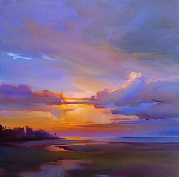 """""""Sunset Reflections, Prouts Neck,"""" by Holly Ready. Oil, 18"""" x 18,"""" available at Maine Art Paintings and Sculpture."""