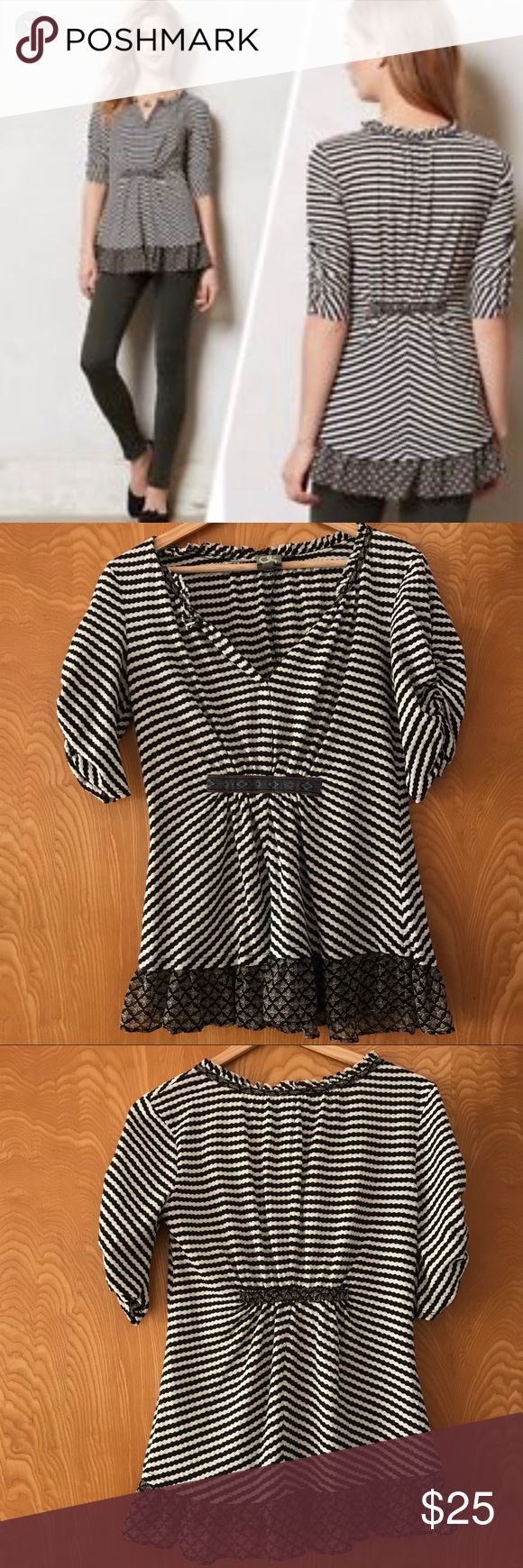 Anthropologie One September Black & White Blouse Anthropologie One September Black and White Striped Short Sleeve Top withRuffled Hem. Size small. Gathered waist. EUC. Comes from non-smoking home with no pets. Anthropologie Tops Blouses