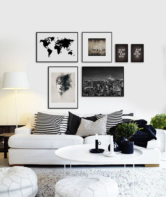 Posters and prints for black and white interior design. Art above the couch. www.desenio.se