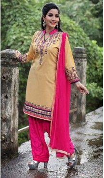 Beige Color Cotton Straight Cut Punjabi Patiyala Suit | FH527679749 #punjabi , #patiyala, #shindhi, #suits, #narrow, #dresses, #salwar, #kameez, #straight, #long, #heenastyle, #indian, #online, #shopping, #clothing, #womens, #girls, #style, #mode, #henna, #hina, #mehendi, #dupatta, #chudidar, @heenastyle , #pakistani, #readymade