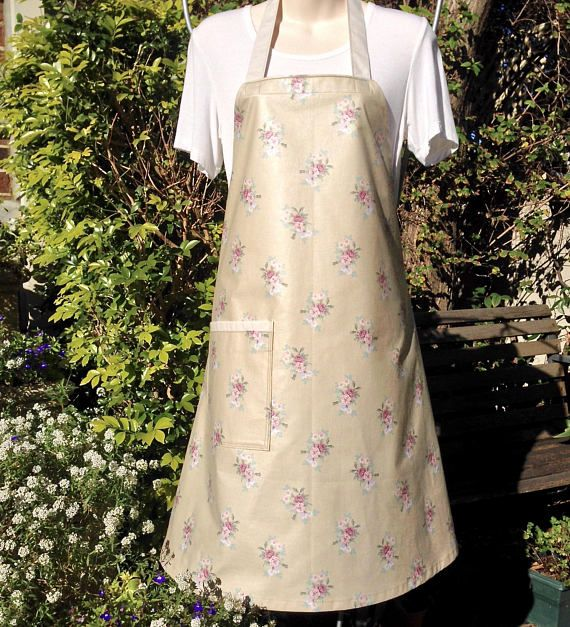 Women's Bib Apron Full Apron Large Pocket Latte Taupe