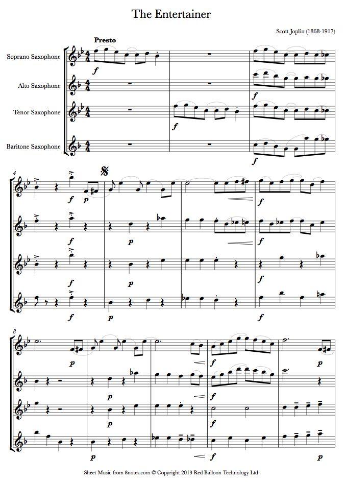 Scott Joplin - The Entertainer sheet music for Saxophone Quartet - entertainer sample resumes