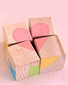 Block Puzzle.  Try to find blocks the same shape.  As simple as these are, they can be tricky to put together.