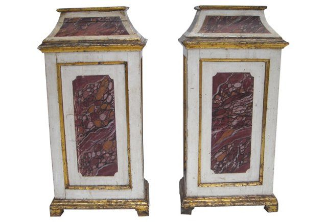"Italian  Painted Stands, C. 1830, Pair 5k 17"" L x 11"" W x 35.5"" H"