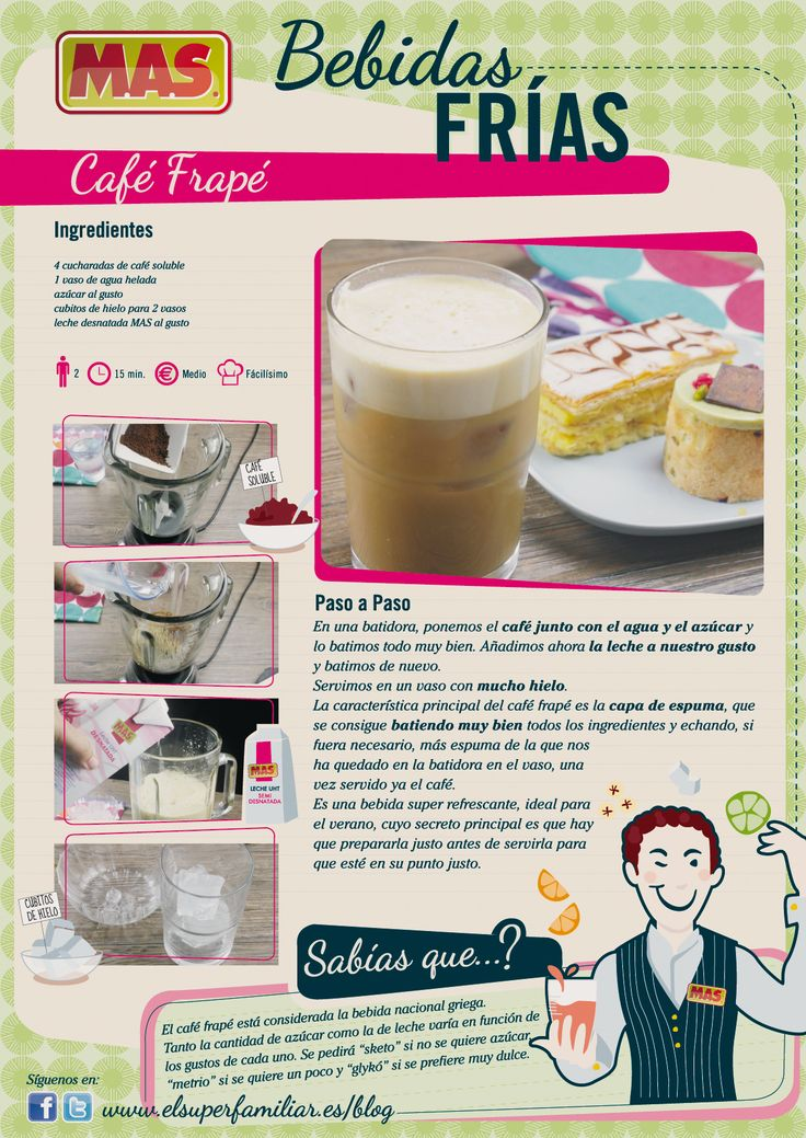Receta café frappe: Beverage, Food, Coffee, Cafe Frapé, Graphics, Infographic