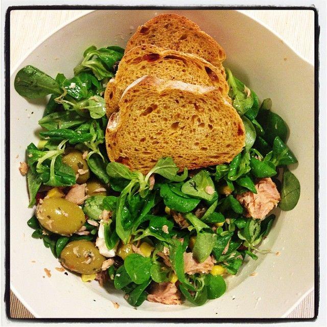 Salad: watercress, feta, olives, tuna, corn, rye bread