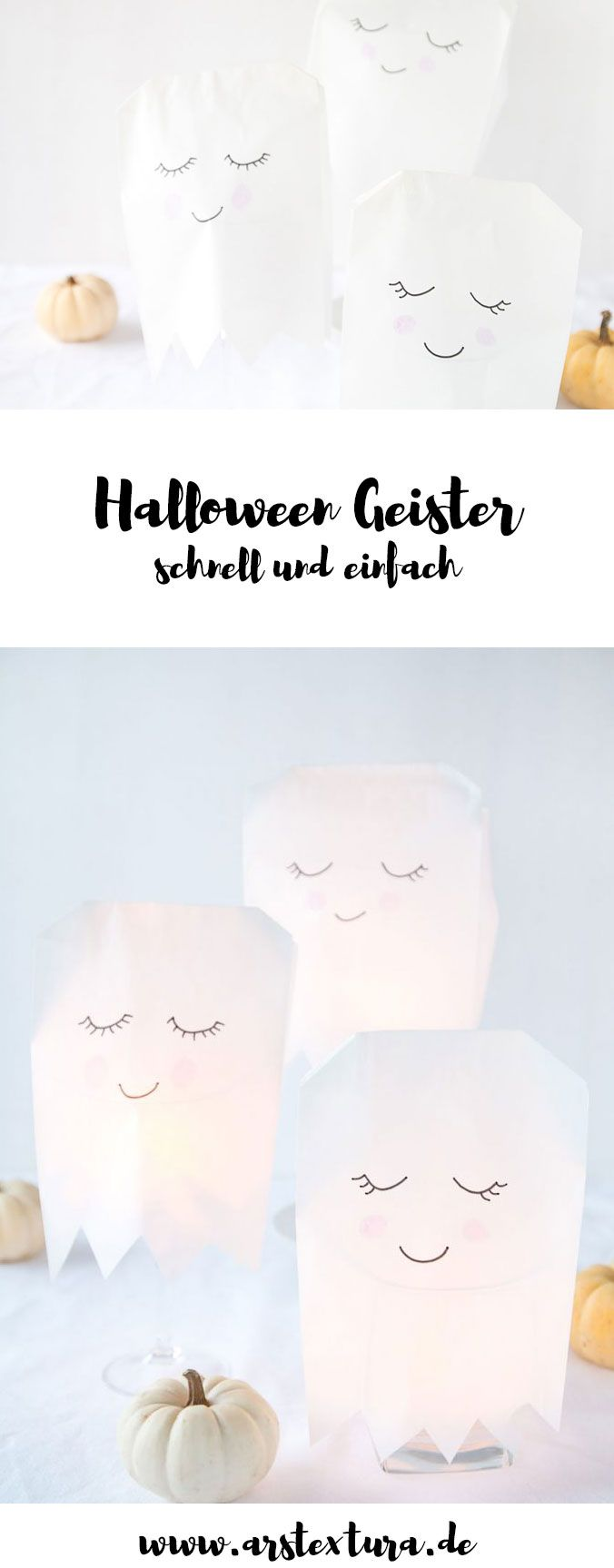 Halloween Deko: Einfache Geister aus Papiertüten basteln für deine Party