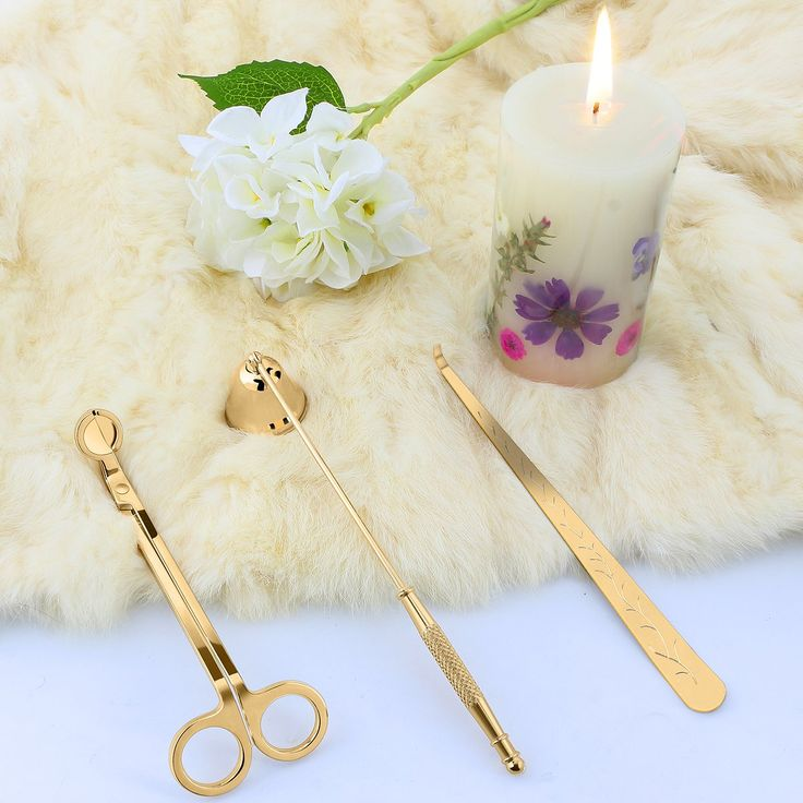 Candle Snuffer, Candle Wick Trimmer & Wick Dipper Candle Accessories (Champange Gold)