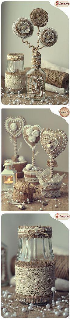 Винтажные работы из мешковины, кружева, джута и кофейных зерен.