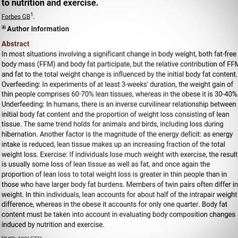 Resumen del estudio: El % de grasa corporal de un sujeto es importante a la hora de pautar un plan nutricional. Para mejoras de la composicion corporal, será este % el que determine si ese sujeto debe comenzar con un déficit calórico para perder grasa o con un superávit para ganar músculo.  En el estudio se compararon dos grupos de personas, unos con % de grasa bajo y otros con % de grasa alto. Ambos grupos se sometieron a tres semanas de sobrealimentación. Los resultados fueron que el grupo…