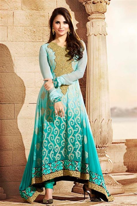Lara Dutta Georgette Sky Blue Long Suit