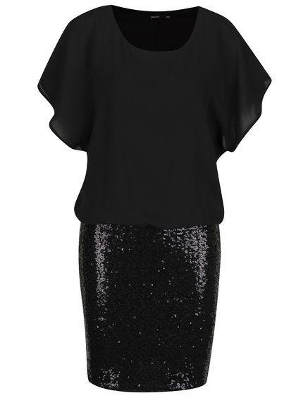 Černé šaty s flitry ONLY Donna