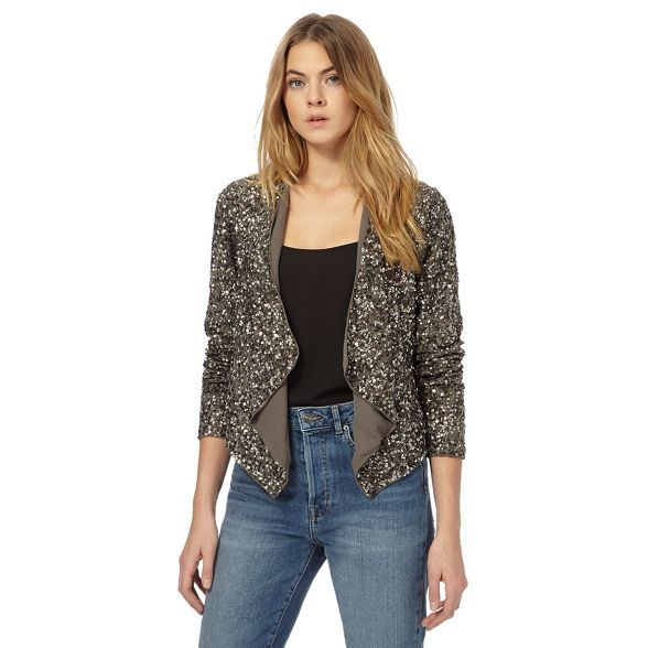 This structured jacket from our exclusive 'Nine' collection by Savannah Miller introduces a glam rock edge to capsule wardrobes. Perfect for layering over skinny jeans and cotton camisoles, it showcases a classic waterfall front with multi-tonal sequin detailing.