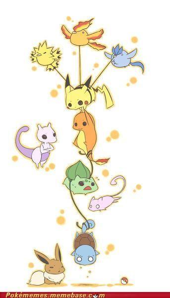 Zapdos, Moltres, Articuno, Pikachu, Charmander, Mewtwo, Bulbasaur, Squirtle, Mew, Eevee and soooooooo cuteee