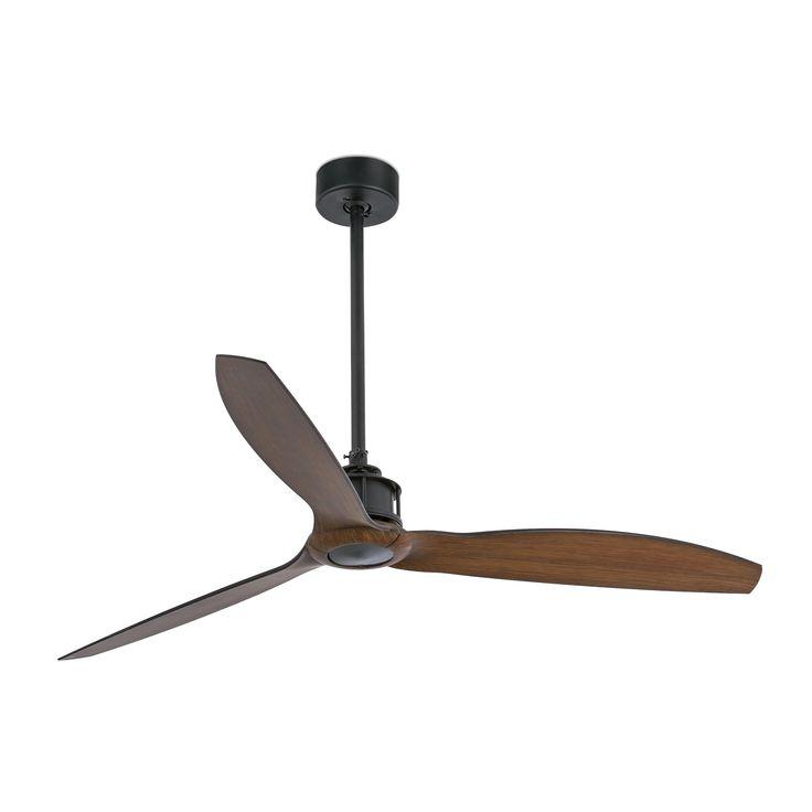 JUST FAN Ventilateur de plafond noir/bois avec moteur DC