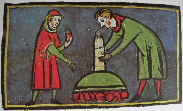 Inalazione di fumo anestetico contro il mal di denti, immagine tratta dal Rogerius Salernitanus - XIV sec. Biblioteca Facoltà di Medicina di Montpellier