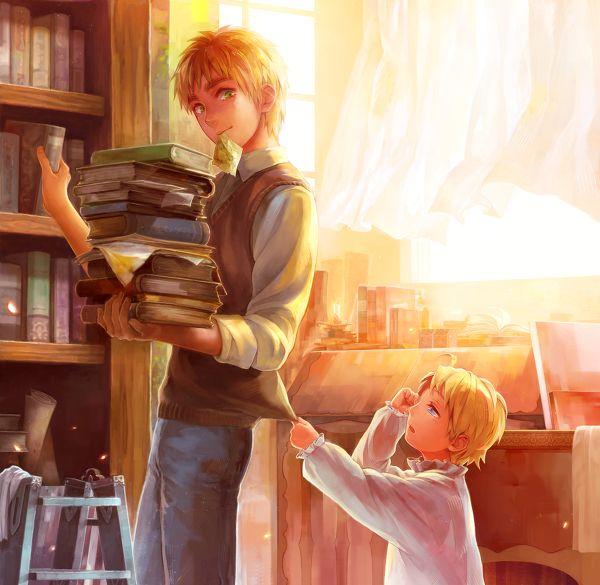 hetalia england zerochan   Hetalia ~Arthur and little Alfred so cute :3