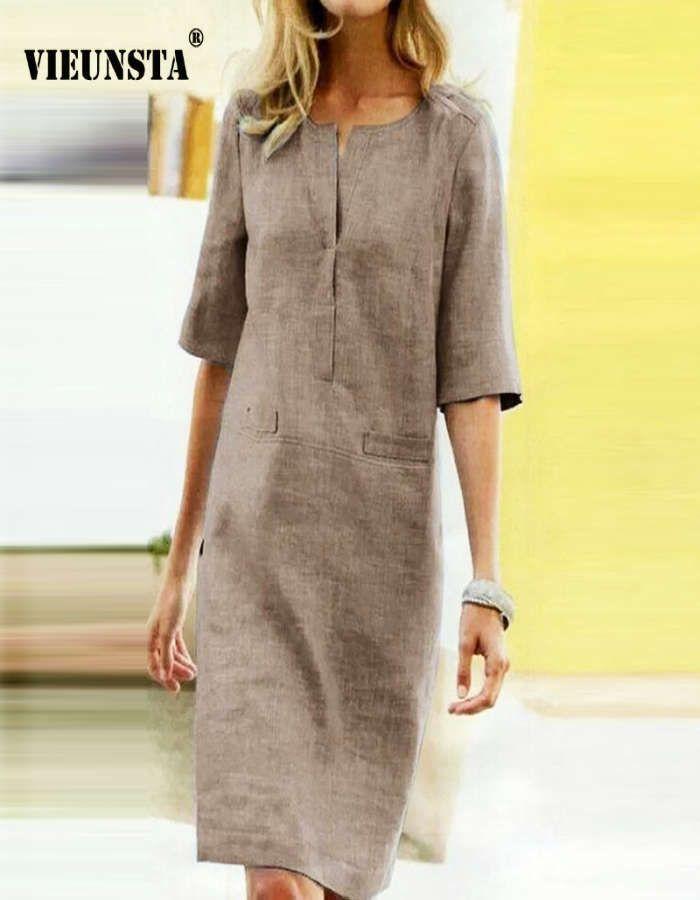 Compra Online Vestido De Lino Y Algodón De Color Liso Para Otoño Vestidos De Lino Vestidos Maxi Informales Vestido Con Bolsillos