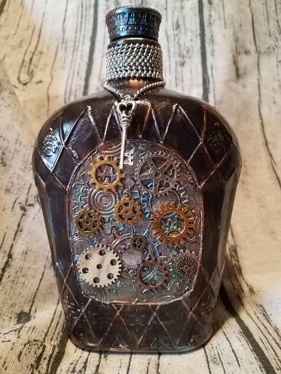 Hey, I found this really awesome Etsy listing at https://www.etsy.com/listing/596075613/crown-royal-bottle-metallic-steampunk