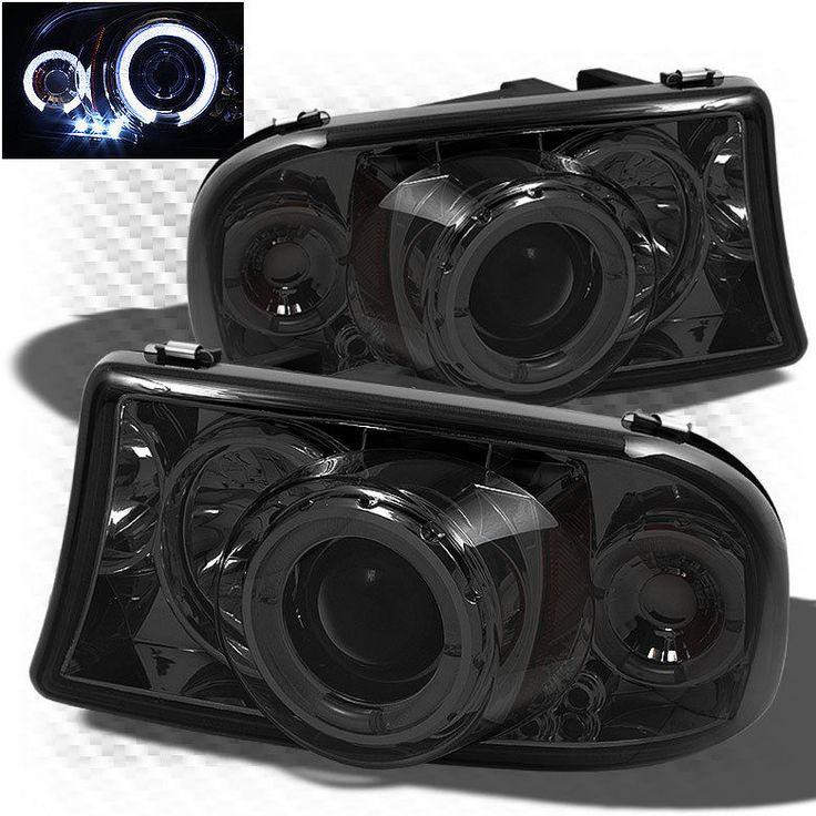 For Smoked Dodge Dakota Durango Twin Halo LED Pro Headlights Sm Head Lights