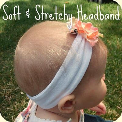 Soft & Stretchy Baby Headband Tutorial (Made from a t-shirt!)    www.the-red-kitchen.com