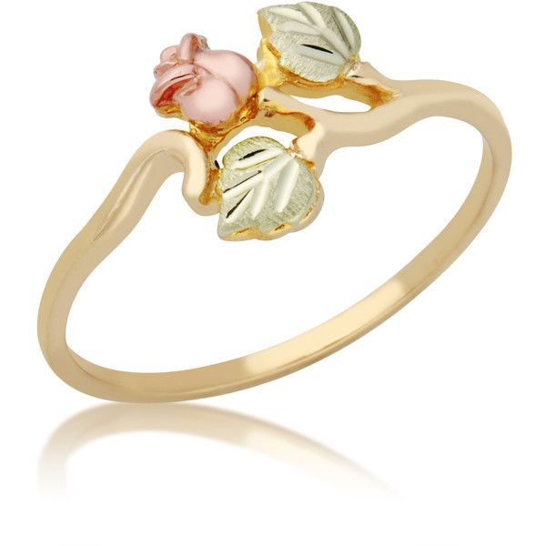 10k Yellow Gold and Black Hills Gold Rosebud Ring (Size 7) (100 AUD) ❤ liked on Polyvore featuring jewelry, rings, tri color gold ring, wide-band rings, gold band ring, rose ring and rose gold jewelry