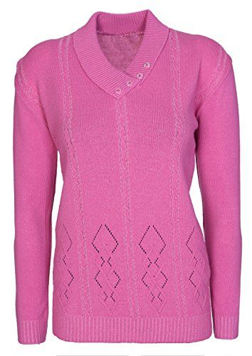 6b8480efd565 Womens Ladies Button Collar Long Sleeve Top Knitted Jumper Pullover ...