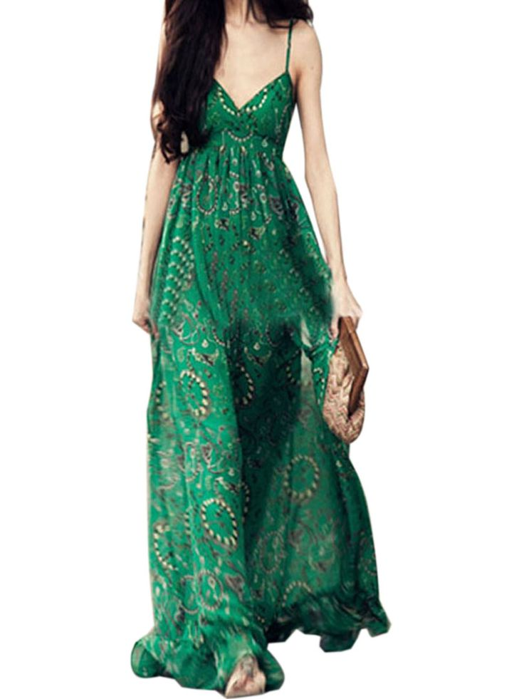 Green Floral Print V Neck Spaghetti Strap Dress