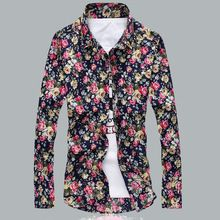 nuevos hombres Floral Camisas M-5XL moda Casual Slim Fit Camisas de negocios vestido de flores imprimir Homme Camisas