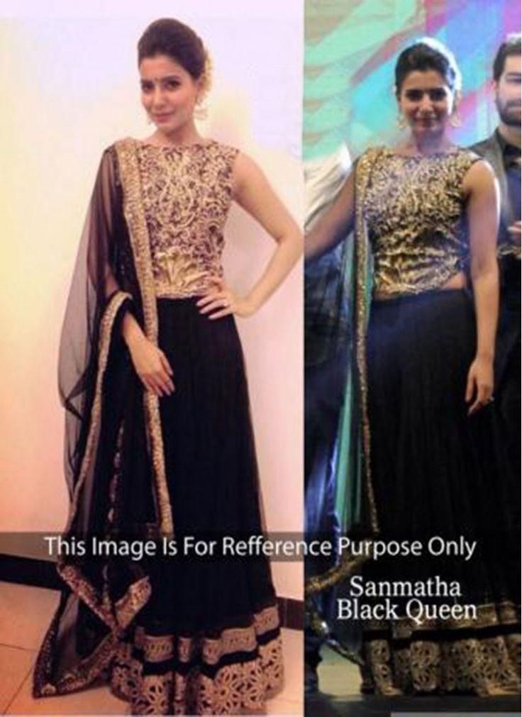 Beguiling Black Lace Reception wear Lehenga choli