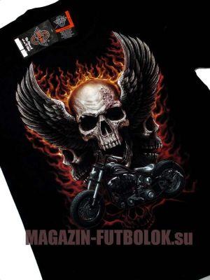 Новая футболка байкерская Skull Wings Motocycle