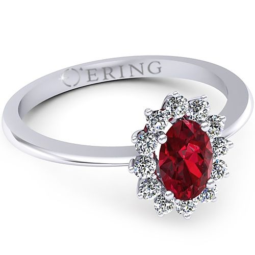 Inel de logodna realizat din aur alb cu rubin si 12 diamante. Pret special!