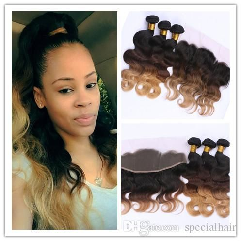 2017 Peruvian Ombre Human Hair 3bundles With 13x4 Lace Frontal Closure #1b/4/27 Honey Blonde Ombre Body Wave Human Hair Wefts With Frontal From Specialhair, $303.02 | Dhgate.Com