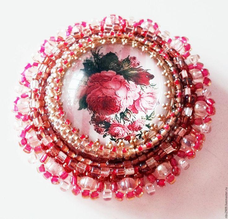 """Купить Брошь """"Душа на кончиках шипов"""" (бисер) - коралловый, розовый, розы, брошь"""