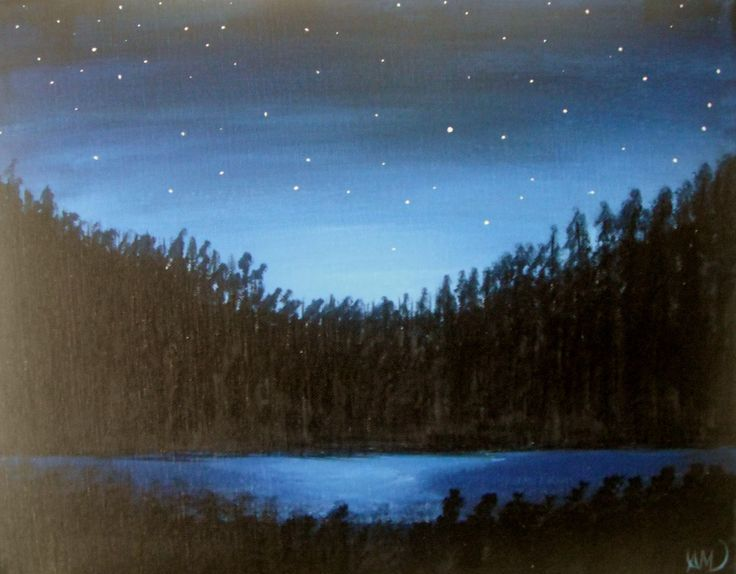 Night lake sky. Paintings on camvas by Art Online.